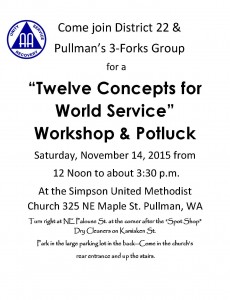 """Twelve Concepts for World Service"" Workshop & Potluck @ Simpson United Methodist Church 
