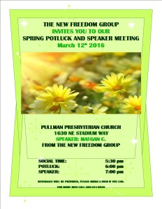 New Freedom Group Spring Potluck Speaker Mtg @ Pullman Presbyterian Church | Pullman | Washington | United States