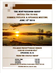 New Freedom Summer Potluck & Speaker @ Pullman Presbyterian Church |  |  |