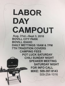 Labor Day Campout @ Boville city park