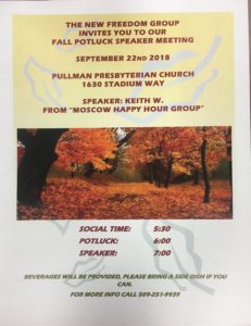 New Freedom Group Fall Potluck @ Pullman Presbyterian Church | Pullman | Washington | United States
