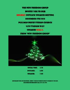 New Freedom Group Holiday Potluck @ Pullman Presbyterian Church | Pullman | Washington | United States