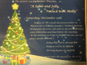 A sober and jolly potluck with Molly @ Latah Recovery Center